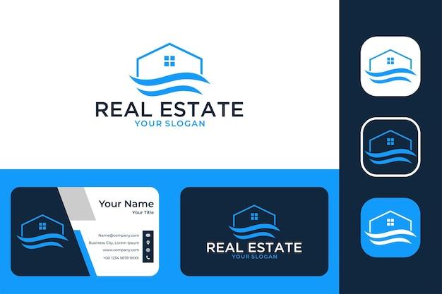 Nieruchomości z projektem logo domu i wizytówką