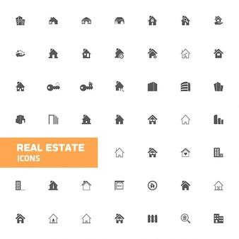 Nieruchomości zestaw ikon