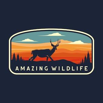Niesamowita grafika odznaki dzikiej przyrody