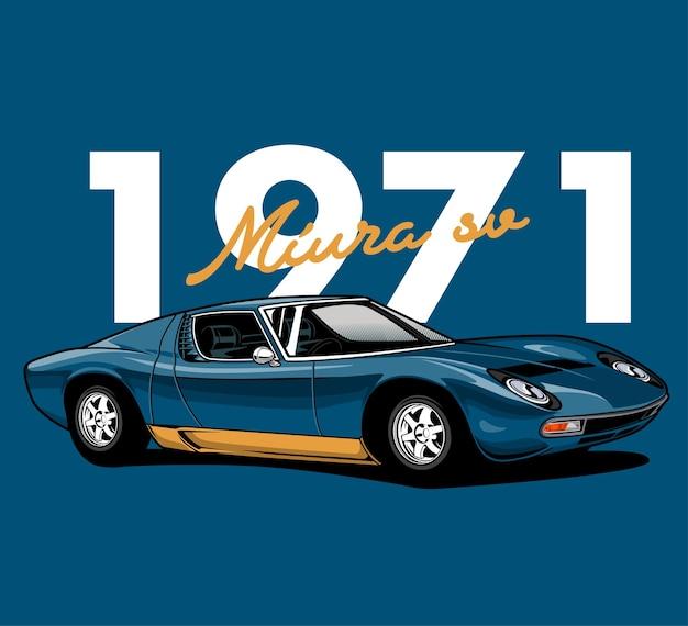 Niesamowita ilustracja niebieski klasyczny samochód wyścigowy