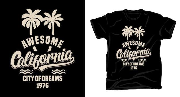 Niesamowita kalifornijska typografia z projektem koszulki z palmami
