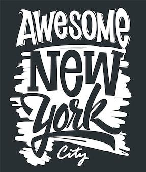 Niesamowita nowojorska typografia, nadruk na koszulce.