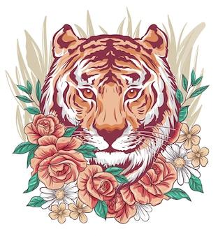 Niesamowita twarz tygrysa zmieszana z kwiatami