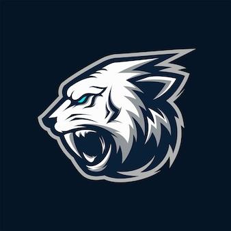 Niesamowite angry biały tygrys head logo maskotka ilustracja wektorowa