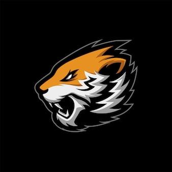 Niesamowite angry tiger head logo maskotka ilustracja wektorowa