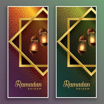 Niesamowite banery ramadan kareem z wiszącymi lampami
