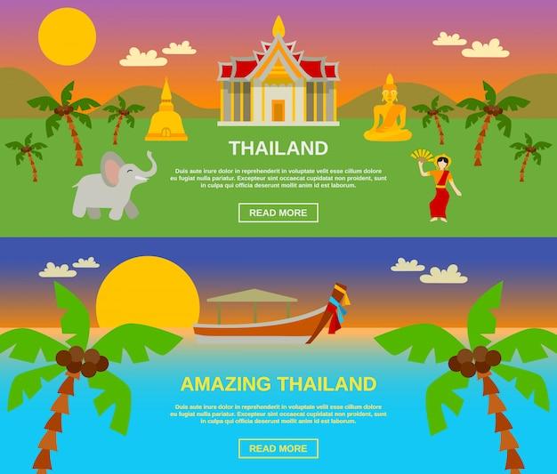 Niesamowite banery tajlandii zestaw