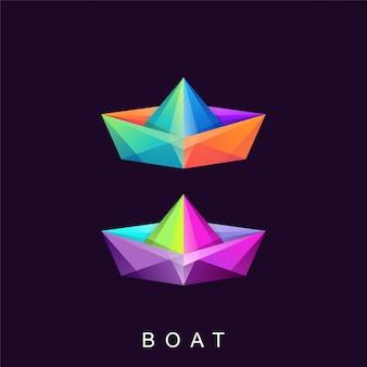 Niesamowite kolorowe logo łódź wektor