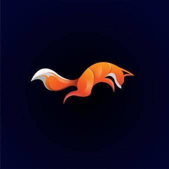Niesamowite kolorowe logo premium lis