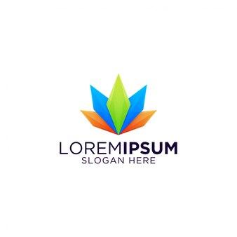Niesamowite kryształowe kolorowe diamentowe logo premium