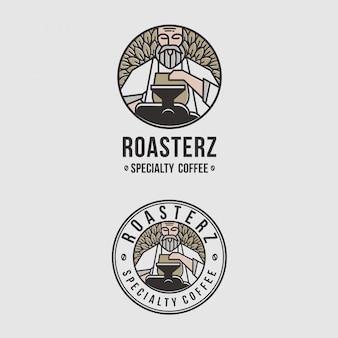 Niesamowite logo emblematu dla kawiarni