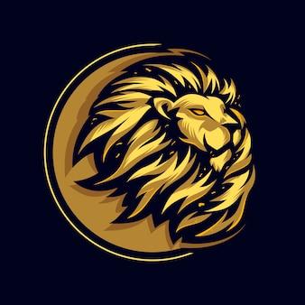 Niesamowite logo głowy lwa premium