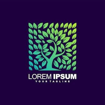 Niesamowite logo gradientu drzewa