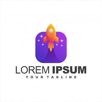 Niesamowite logo gradientu rakiet