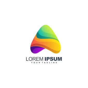Niesamowite logo kolorowe streszczenie trójkąta