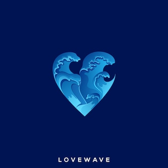 Niesamowite logo love wave premium