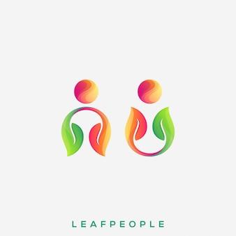 Niesamowite logo ludzi liści