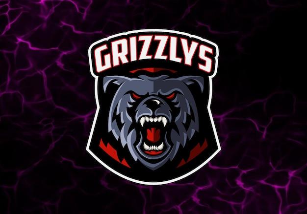 Niesamowite logo niedźwiedzia, szablon logo maskotka e sport