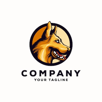 Niesamowite logo pies pasterski wektor