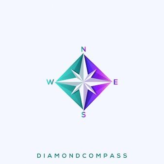Niesamowite logo premium diamond compass
