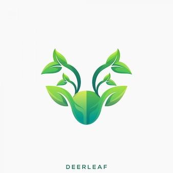 Niesamowite logo premium green deer leaf