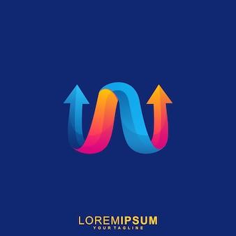 Niesamowite logo premium letter w arrow
