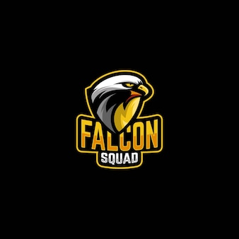 Niesamowite logo premium maskotki falcon