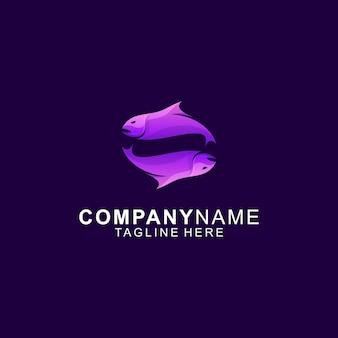 Niesamowite logo premium twin fish