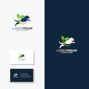 Niesamowite logo psa i liścia oraz wizytówki