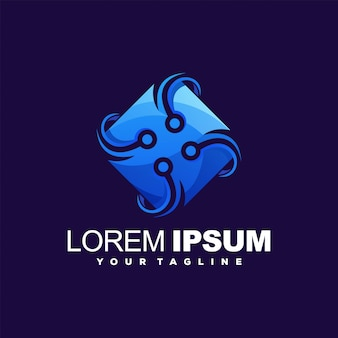 Niesamowite logo w kolorze techniki
