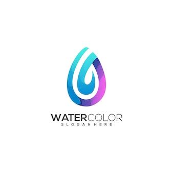 Niesamowite logo woda kolorowy gradient
