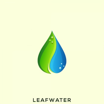 Niesamowite logo wody z liści