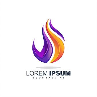 Niesamowite logo z gradientem płomienia