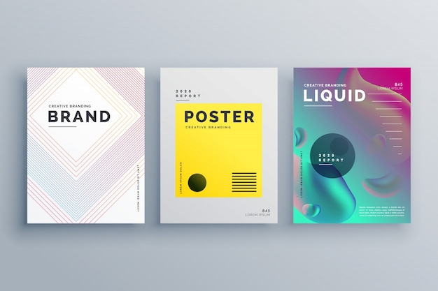 Niesamowite minimalne broszury szablon projektowanie zestaw styl linii płynnych kolorach w rozmiarze a4
