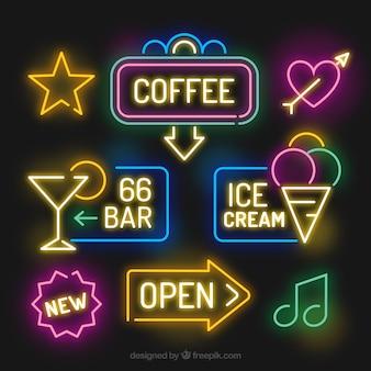 Niesamowite paczka jasnych neonów signages