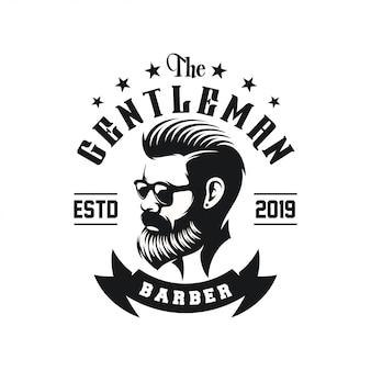 Niesamowite projektowanie logo brodaty mężczyzna