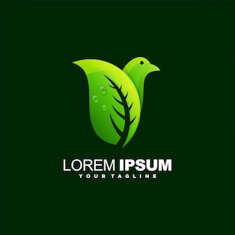 Niesamowite projektowanie logo liści ptaka