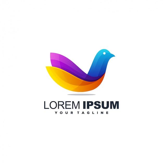 Niesamowite projektowanie logo ptaków gradientowych