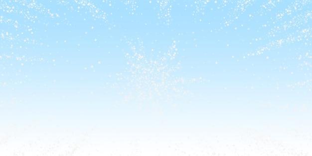 Niesamowite spadające gwiazdy boże narodzenie w tle. subtelne latające płatki śniegu i gwiazdy na tle zimowego nieba. atrakcyjny szablon nakładki srebrny śnieżynka zima. zaskakująca ilustracja wektorowa.
