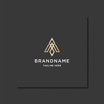 Niesamowite złote logo monogramu litery a.