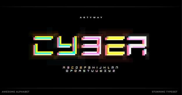 Niesamowity alfabet cyber futuryzmu futurystyczny, oszałamiający geometryczny typ czcionki dla nowoczesnego nagłówka logo