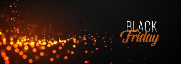 Niesamowity czarny piątek świecące szablon transparent cząstek