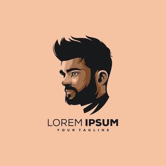 Niesamowity fajny projekt logo ilustracji człowieka