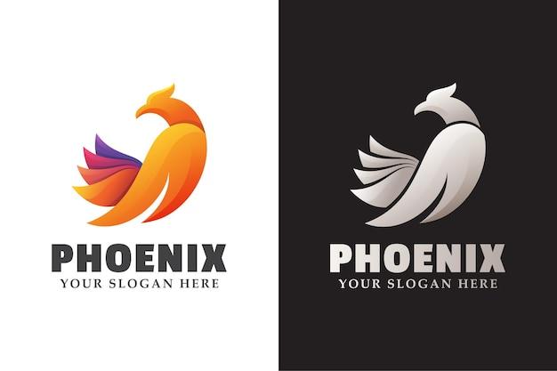 Niesamowity feniks, lecący orzeł, sokół, gradientowe logo ilustracja w dwóch wersjach
