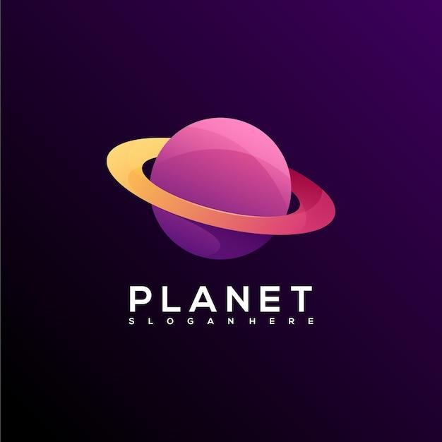 Niesamowity kolorowy gradient logo planety