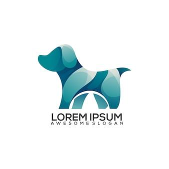 Niesamowity kolorowy gradient logo psa