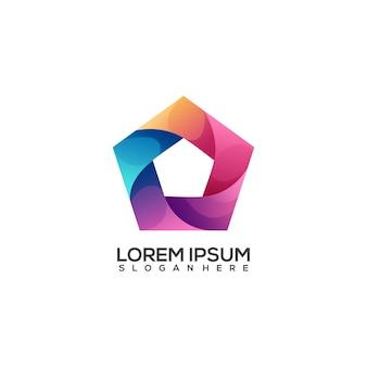 Niesamowity kolorowy gradient logo wielokąta