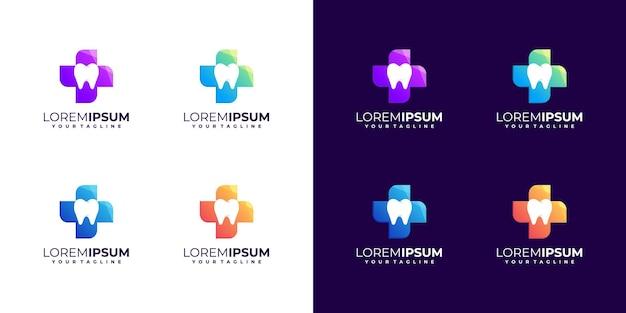 Niesamowity kolorowy projekt logo dentystycznego