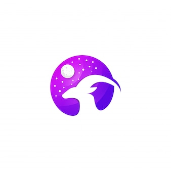 Niesamowity kolorowy szablon logo jelenia premium