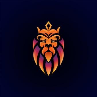 Niesamowity kolorowy szablon logo premium lew